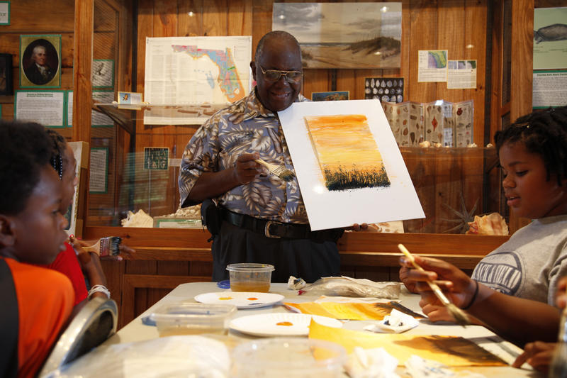 painting workshop facilitated by Florida Highwayman R. L. Lewis
